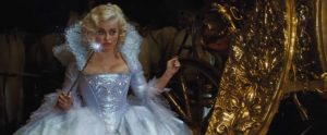 Helena Bonham Carter as Helena Bonham Carter pretending to be a fairy godmother.